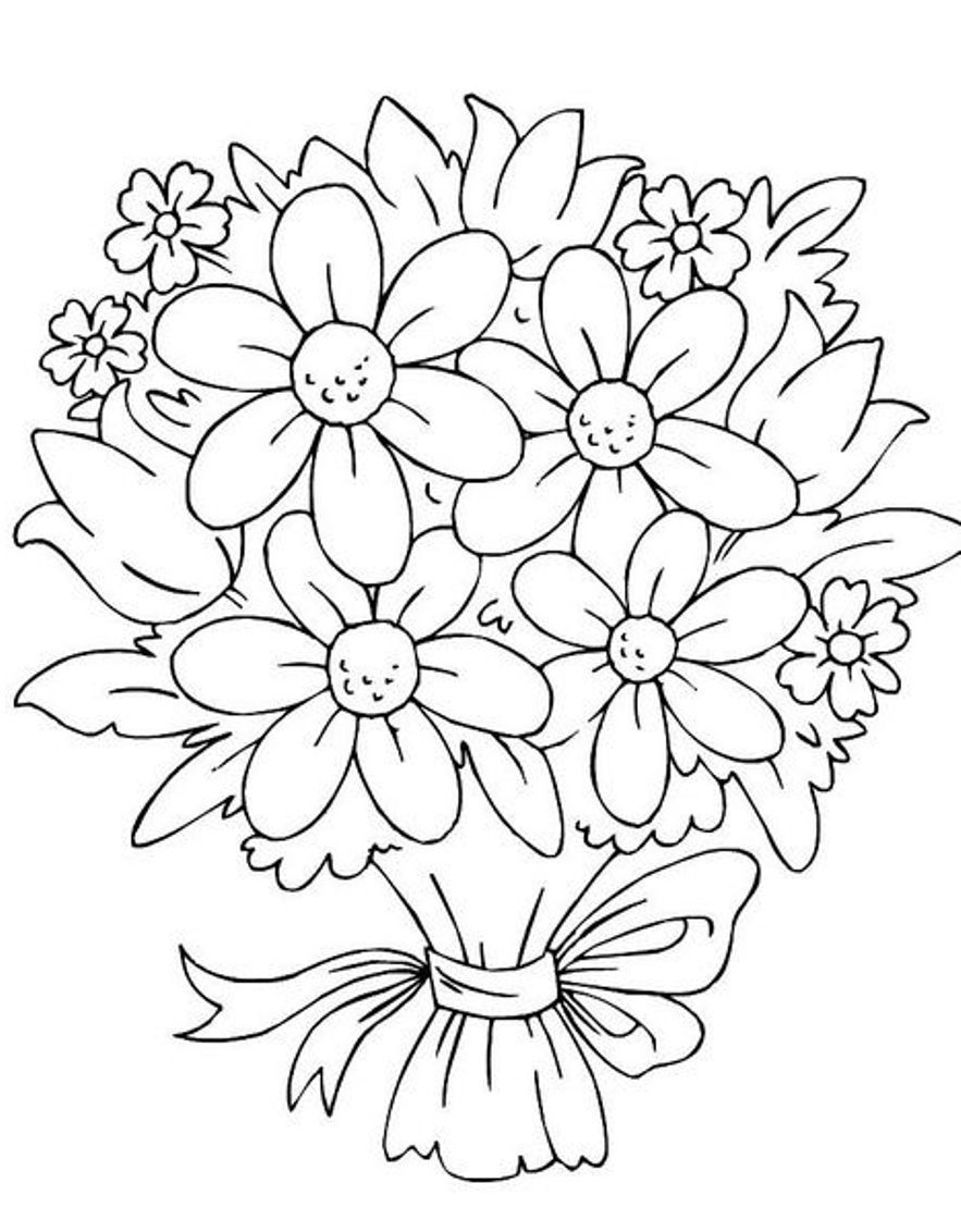 coloring flower clipart black and white white daisy with stem clip art at clkercom vector clip and flower clipart black white coloring