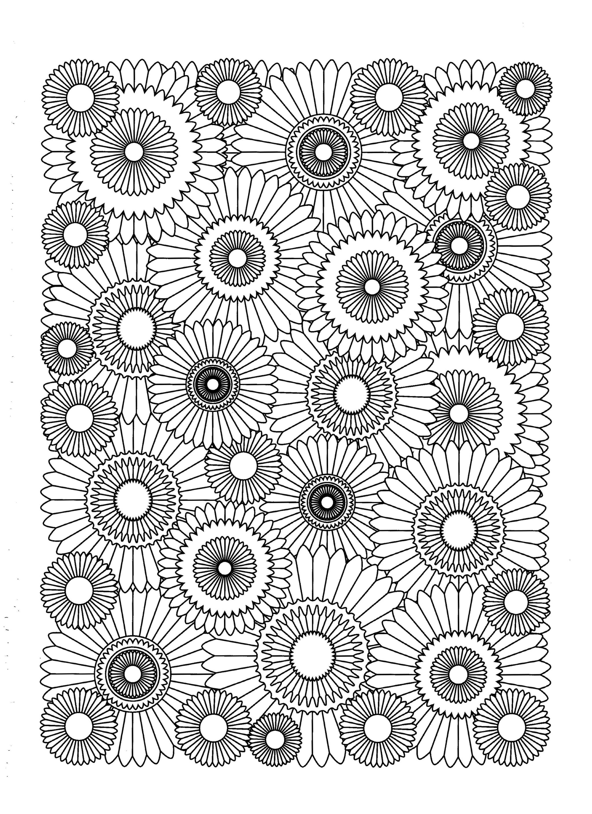 coloring flowers for adults free printable flower coloring pages for kids best for adults flowers coloring