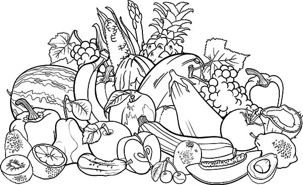 coloring fruits and vegetables in a basket a big bowl of tasty fruits coloring page kids play color coloring and in a fruits basket vegetables