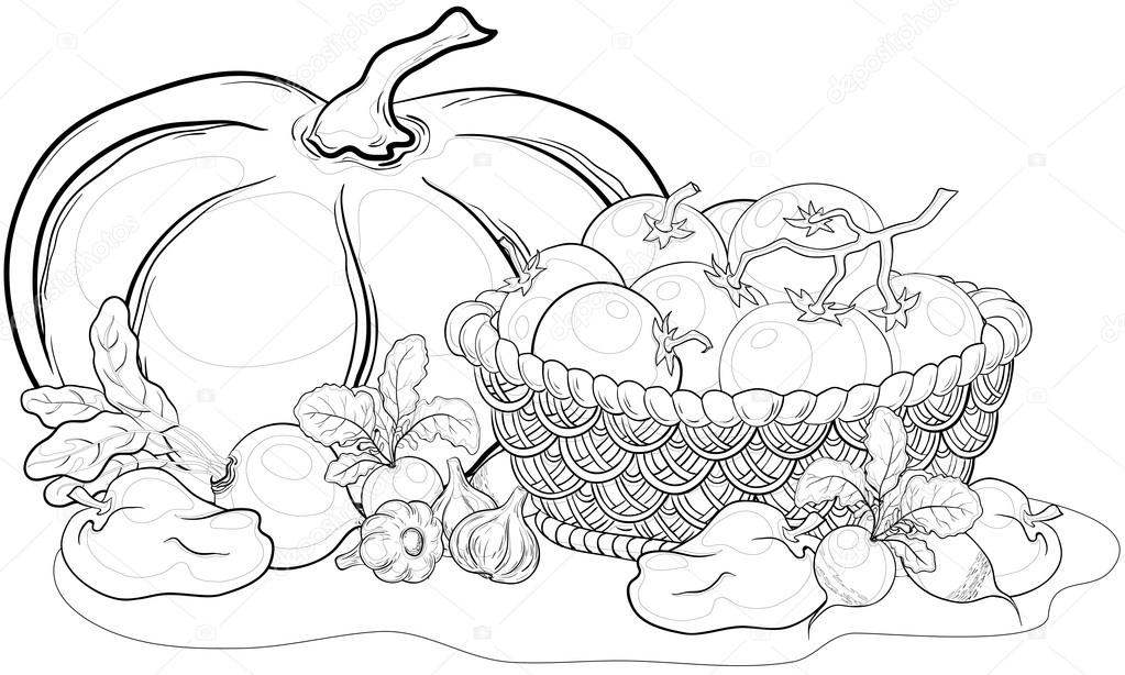 coloring fruits and vegetables in a basket basket of vegetables drawing at getdrawings free download and fruits vegetables a coloring basket in