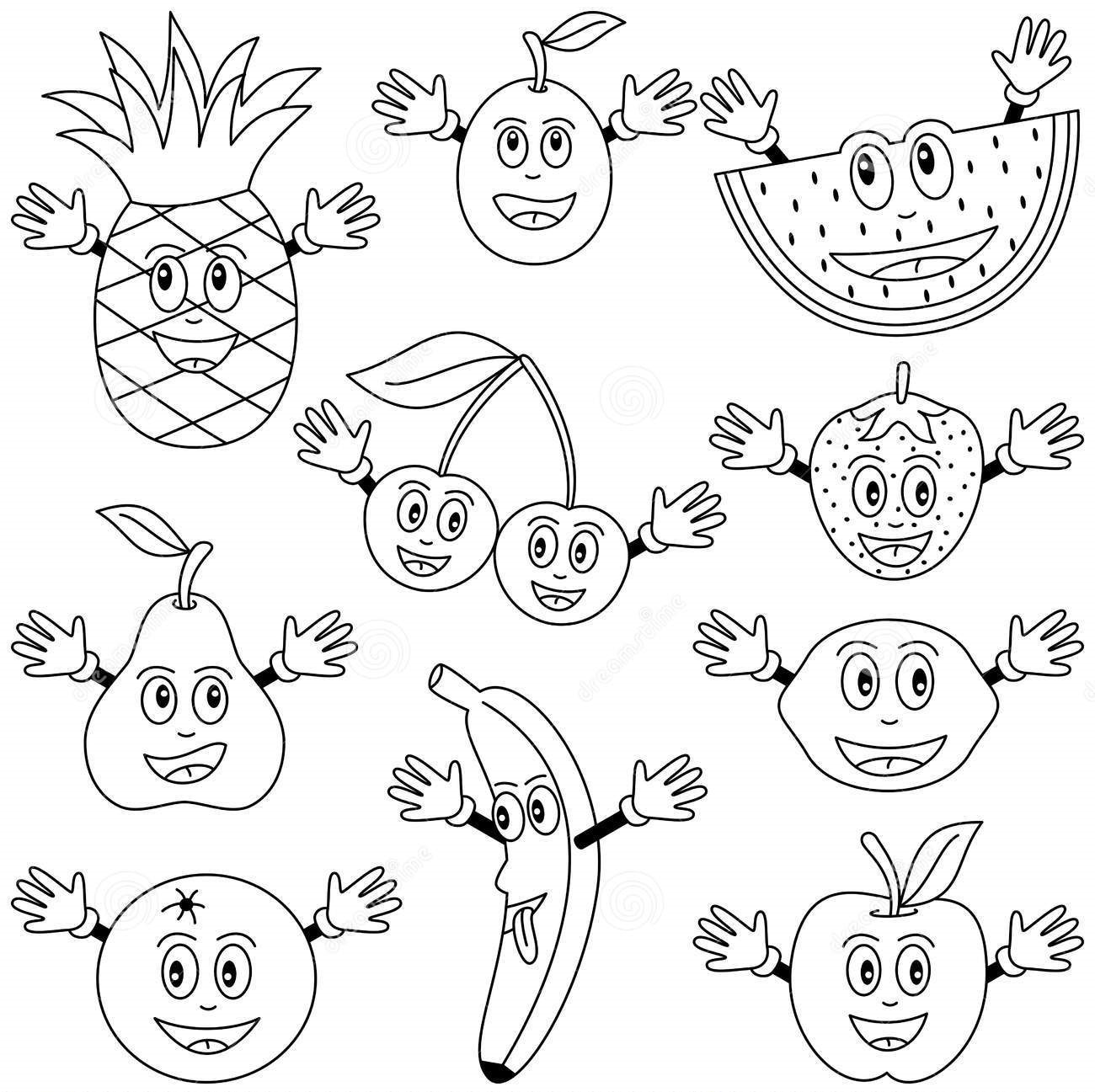 coloring fruits and vegetables in a basket basket with vegetables stock vector illustration of line and coloring fruits vegetables basket a in