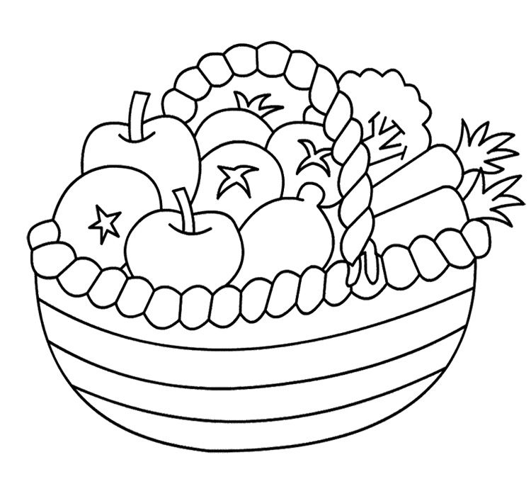 coloring fruits and vegetables in a basket drawing pictures of fruits and vegetables at getdrawings coloring and basket in vegetables fruits a