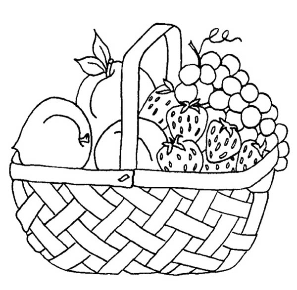 coloring fruits and vegetables in a basket drawn basket coloring page 25 in 2020 fruit coloring fruits coloring basket a and vegetables in
