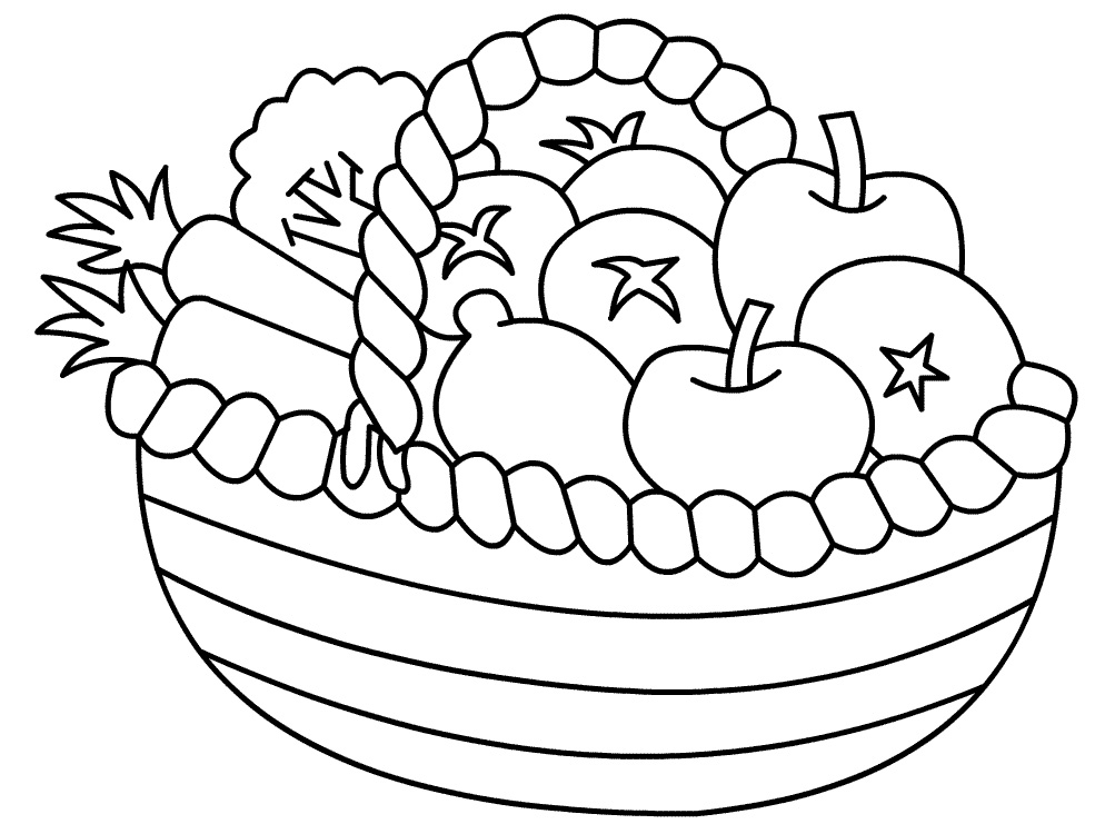 coloring fruits and vegetables in a basket fruit basket fruits and vegetables color the free sketch and coloring vegetables basket fruits a in