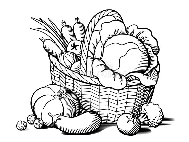 coloring fruits and vegetables in a basket fruits and vegetables coloring pages for kids printable in basket and fruits vegetables a coloring