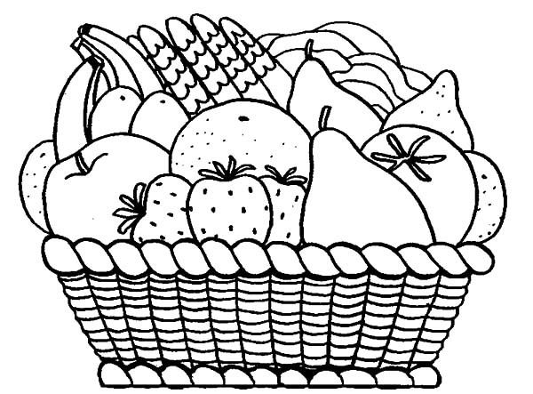 coloring fruits and vegetables in a basket fruits drawing for colouring at getdrawings free download coloring a in fruits and vegetables basket