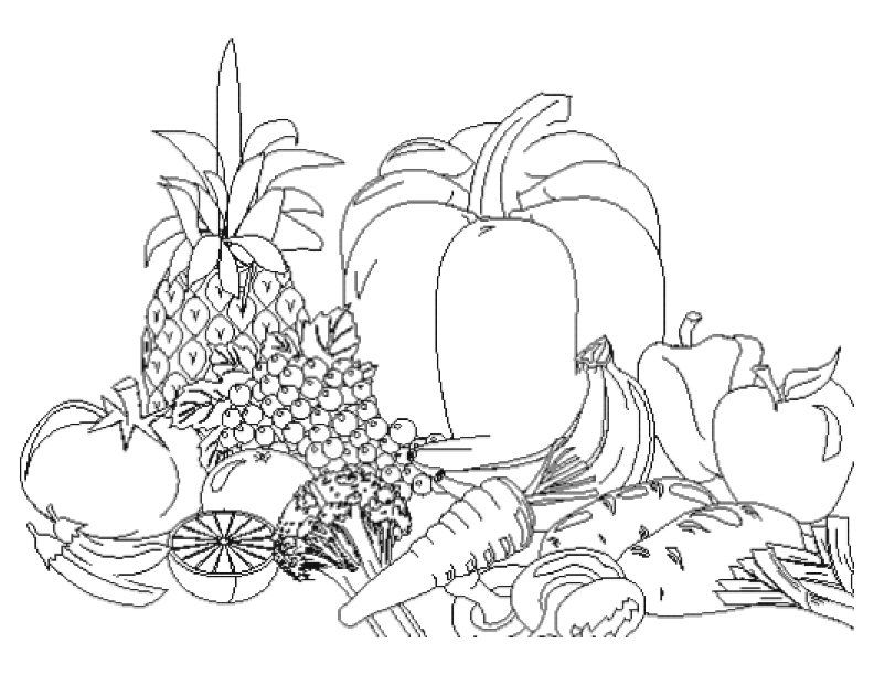coloring fruits and vegetables in a basket pineapple and other fruit in the basket coloring page fruits a basket coloring vegetables and in