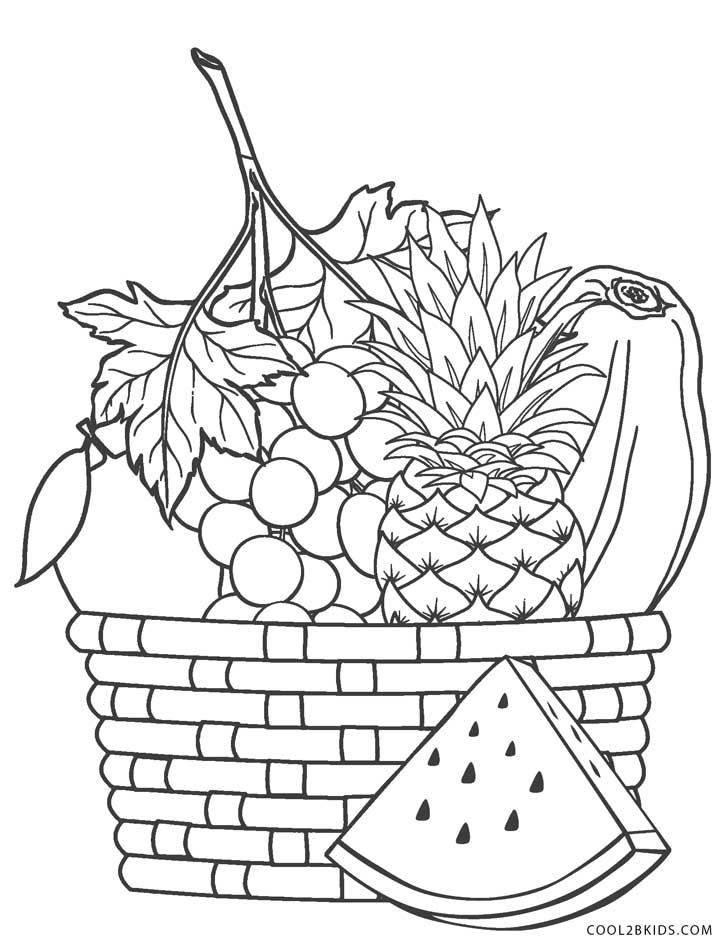 coloring fruits and vegetables in a basket strawberry and other fruit in the basket coloring page and basket coloring a in fruits vegetables