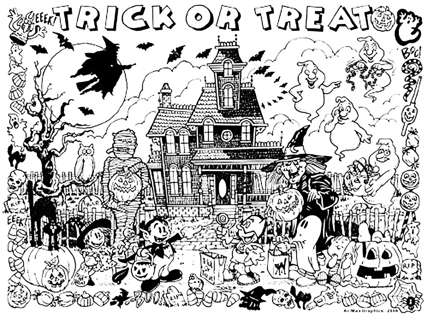 coloring halloween doodle pages 30 cute halloween coloring pages for kids scribblefun pages halloween doodle coloring