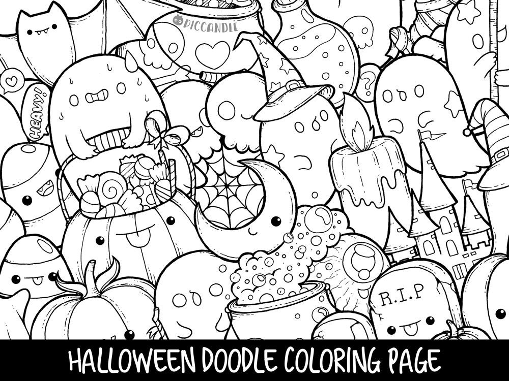 coloring halloween doodle pages halloween doodle coloring page printable cutekawaii doodle pages halloween coloring