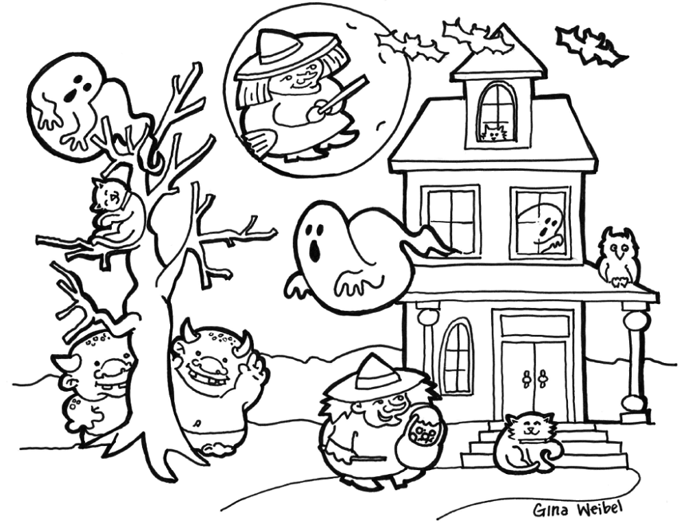 coloring halloween doodle pages halloween doodle coloring page printable cutekawaii etsy pages coloring halloween doodle