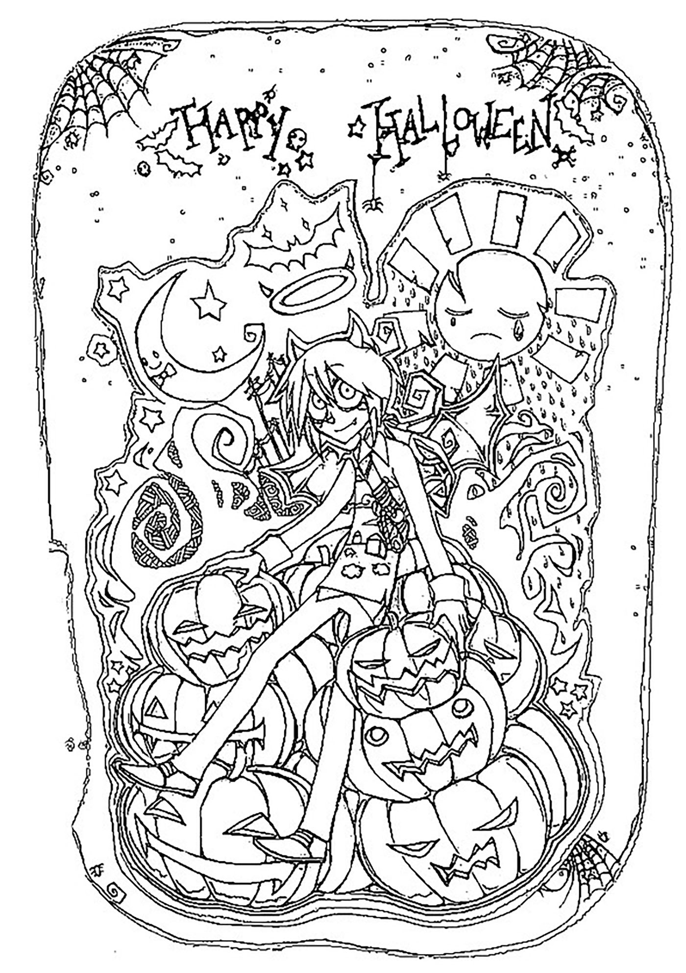 coloring halloween doodle pages halloween happy halloween halloween adult coloring pages coloring halloween pages doodle