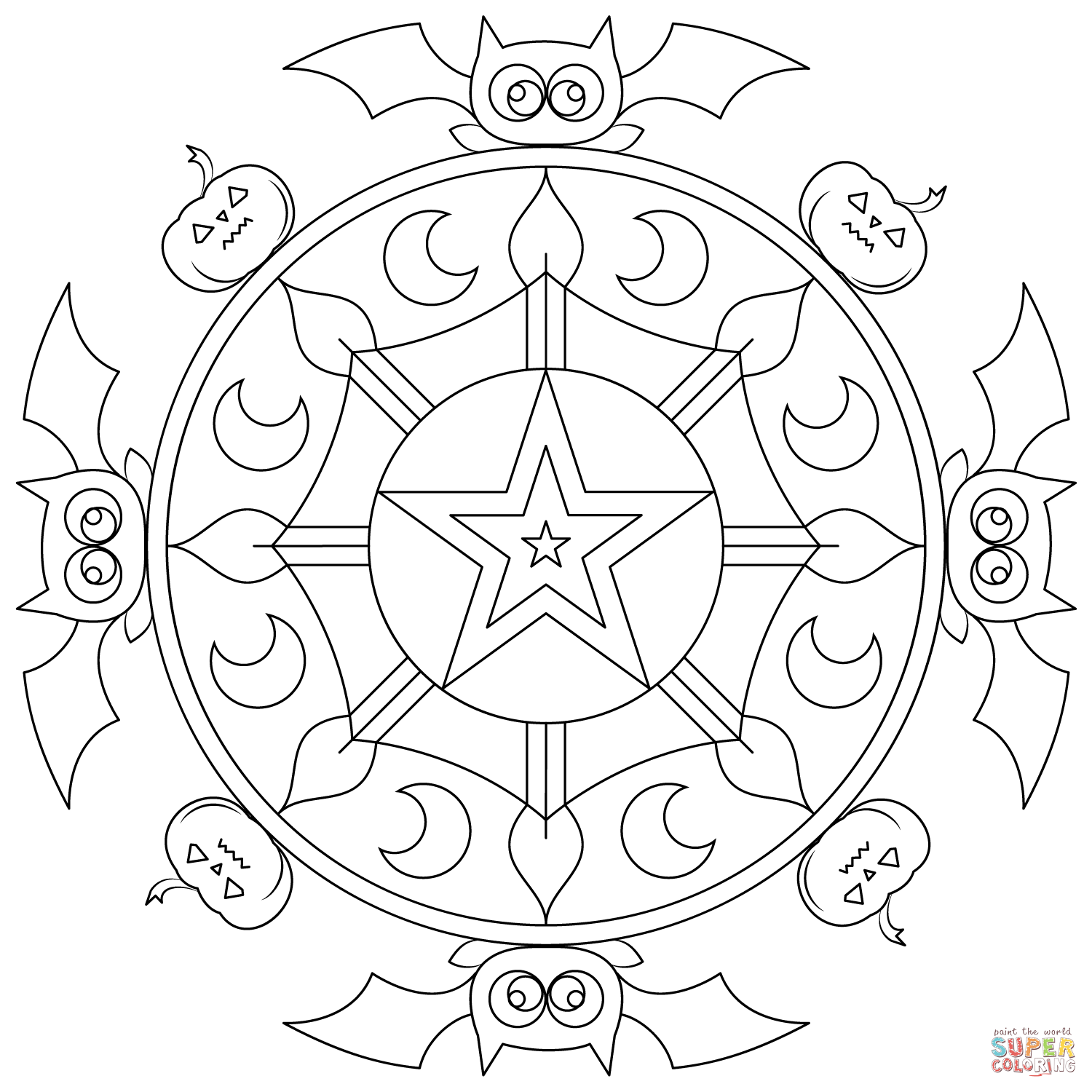coloring halloween mandala halloween mandala with a witch in the village coloring mandala coloring halloween