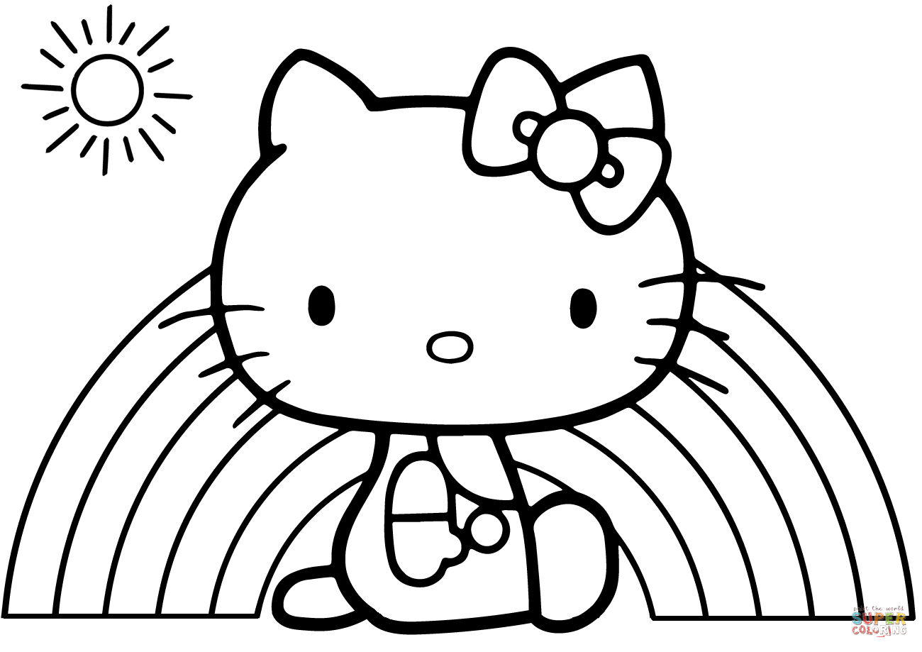 coloring hello kitty hello kitty rainbow coloring page free printable lusine kitty hello coloring