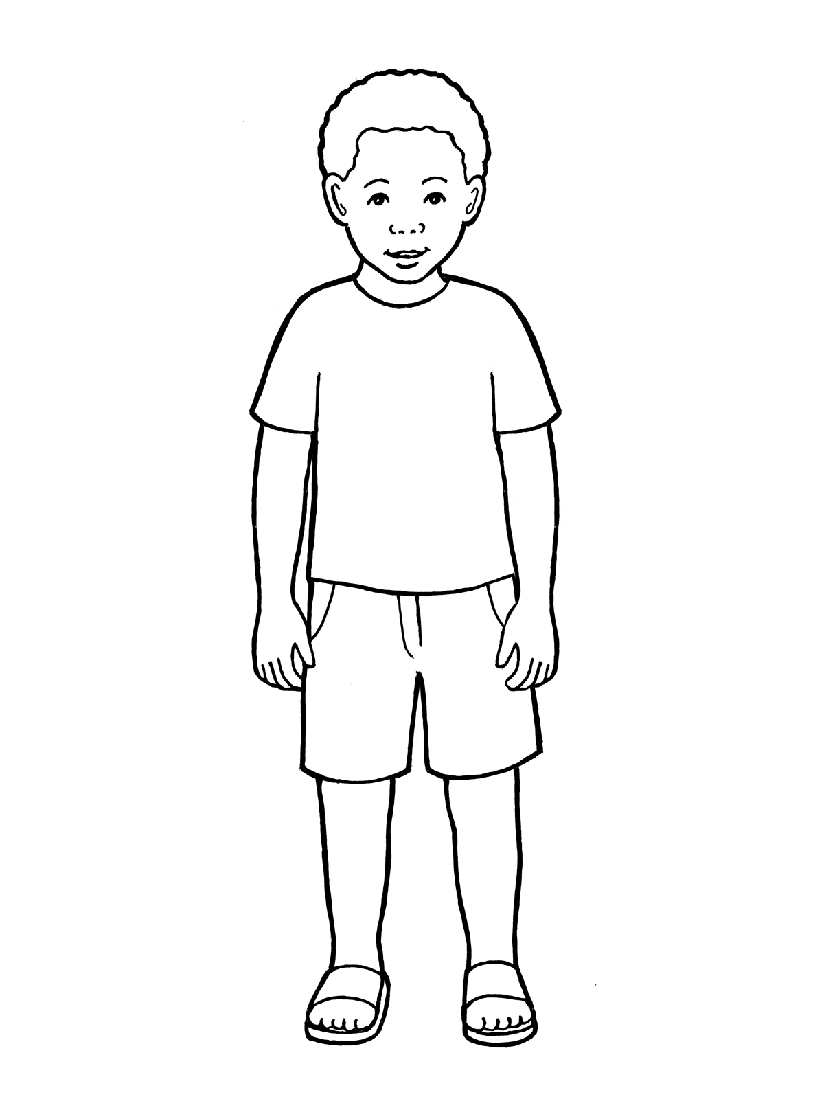 coloring image of boy primary boy standing of image boy coloring