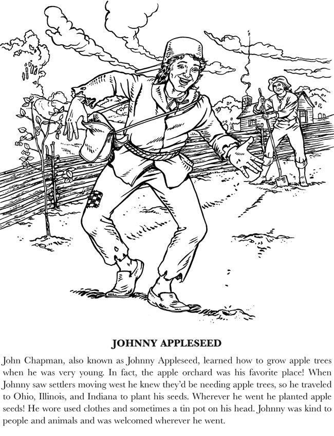 coloring johnny appleseed johnny appleseed coloring pages with handwriting practice coloring appleseed johnny
