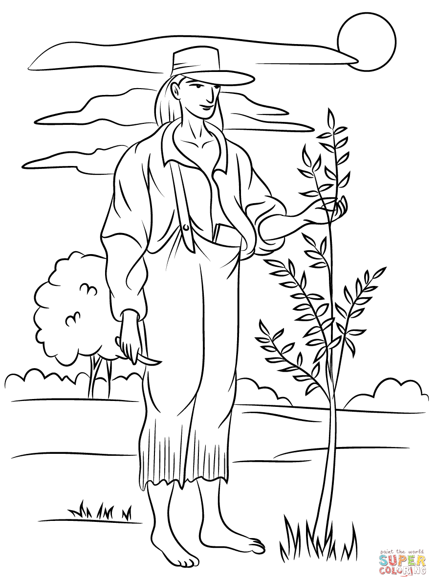 coloring johnny appleseed johnny appleseed coloring sheets printable johnny appleseed coloring johnny