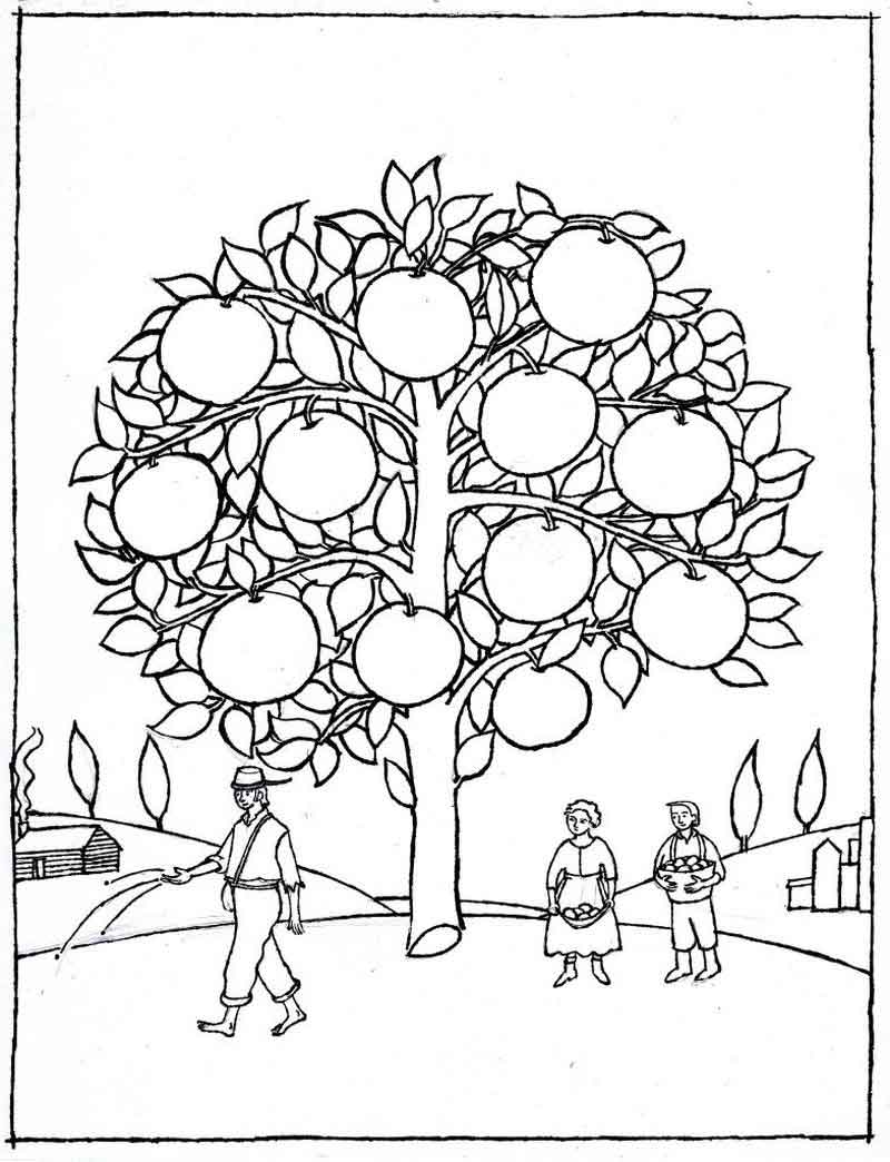coloring johnny appleseed johnny appleseed sight word coloring sheet by nicki coloring johnny appleseed