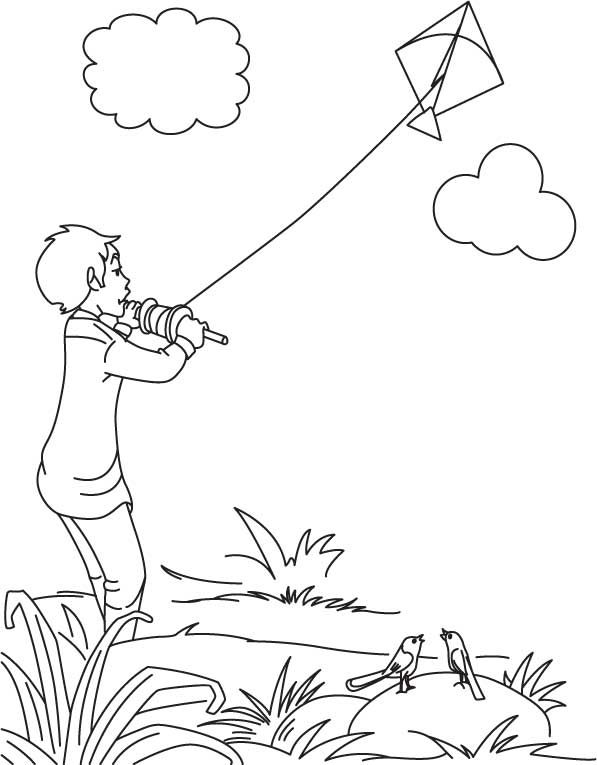 coloring kite black and white a boy flying kite on independence day of india download black coloring white and kite