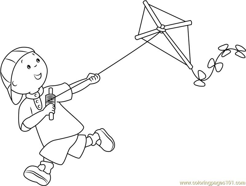 coloring kite black and white caillou with kite coloring page free caillou coloring coloring white black and kite