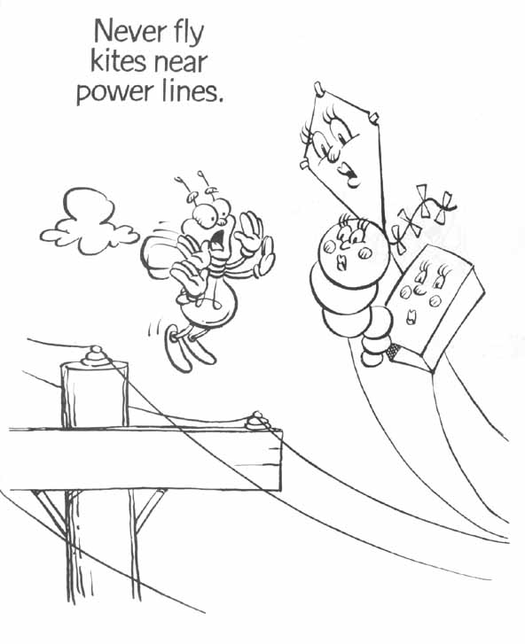 coloring kite black and white electrical safety and your children wh electric and black kite coloring white