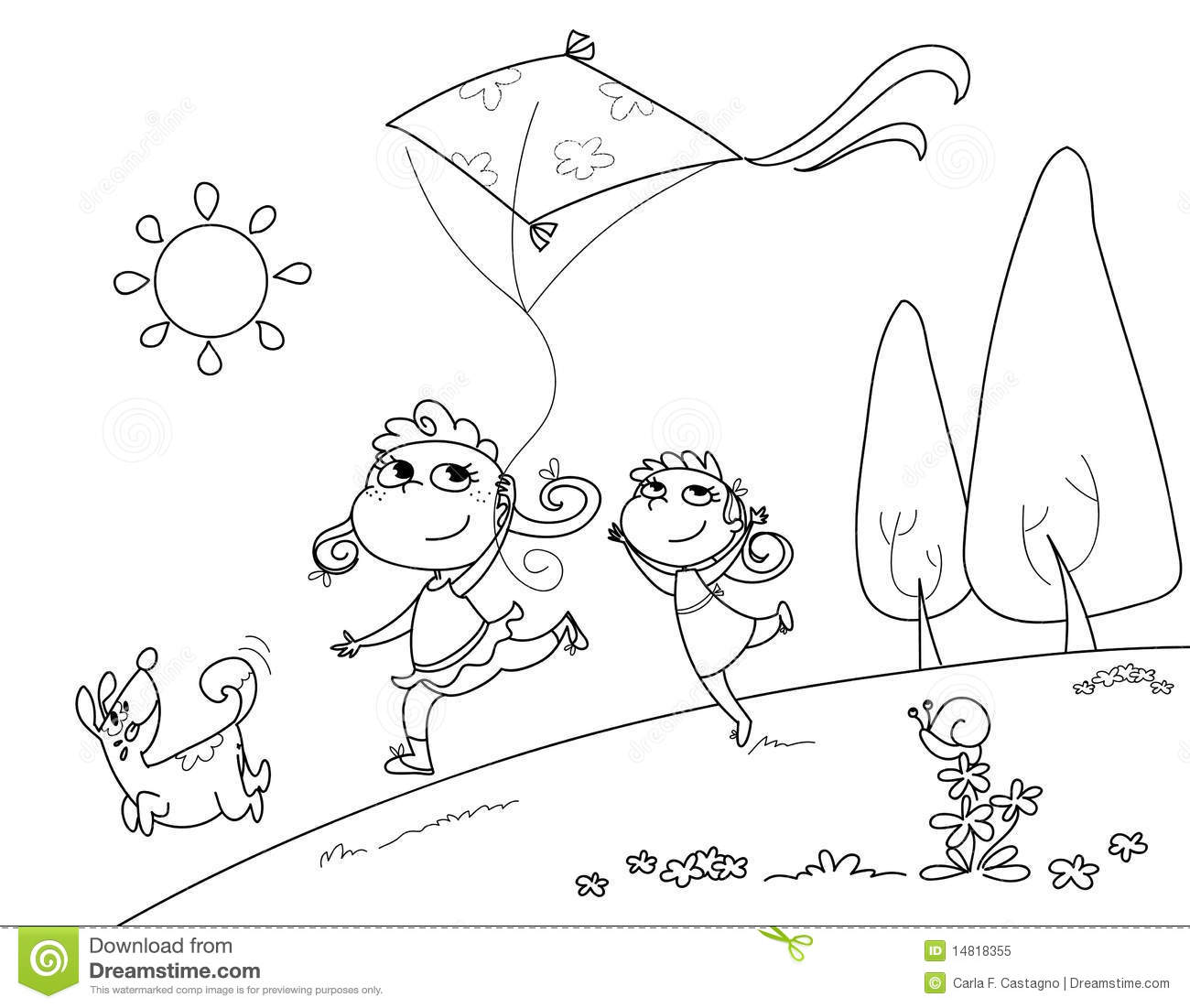 coloring kite black and white playing with the kite royalty free stock photo image white and coloring kite black