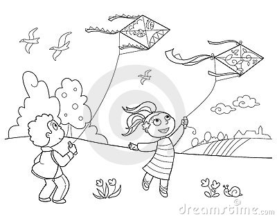 coloring kite images black and white playing with kites stock photos image 19330223 coloring white black and kite images