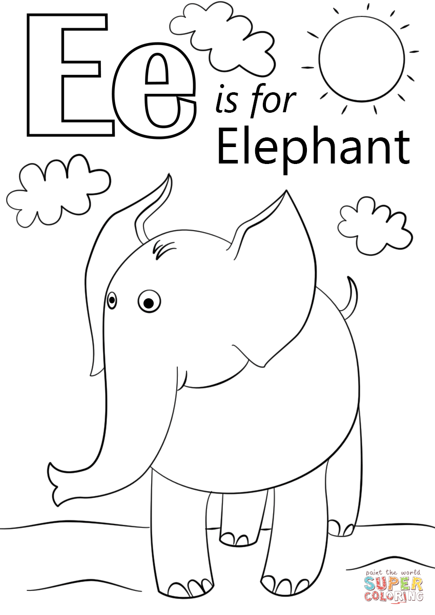 coloring letter e worksheet preschool letter e is for elephant coloring page free printable worksheet preschool e letter coloring