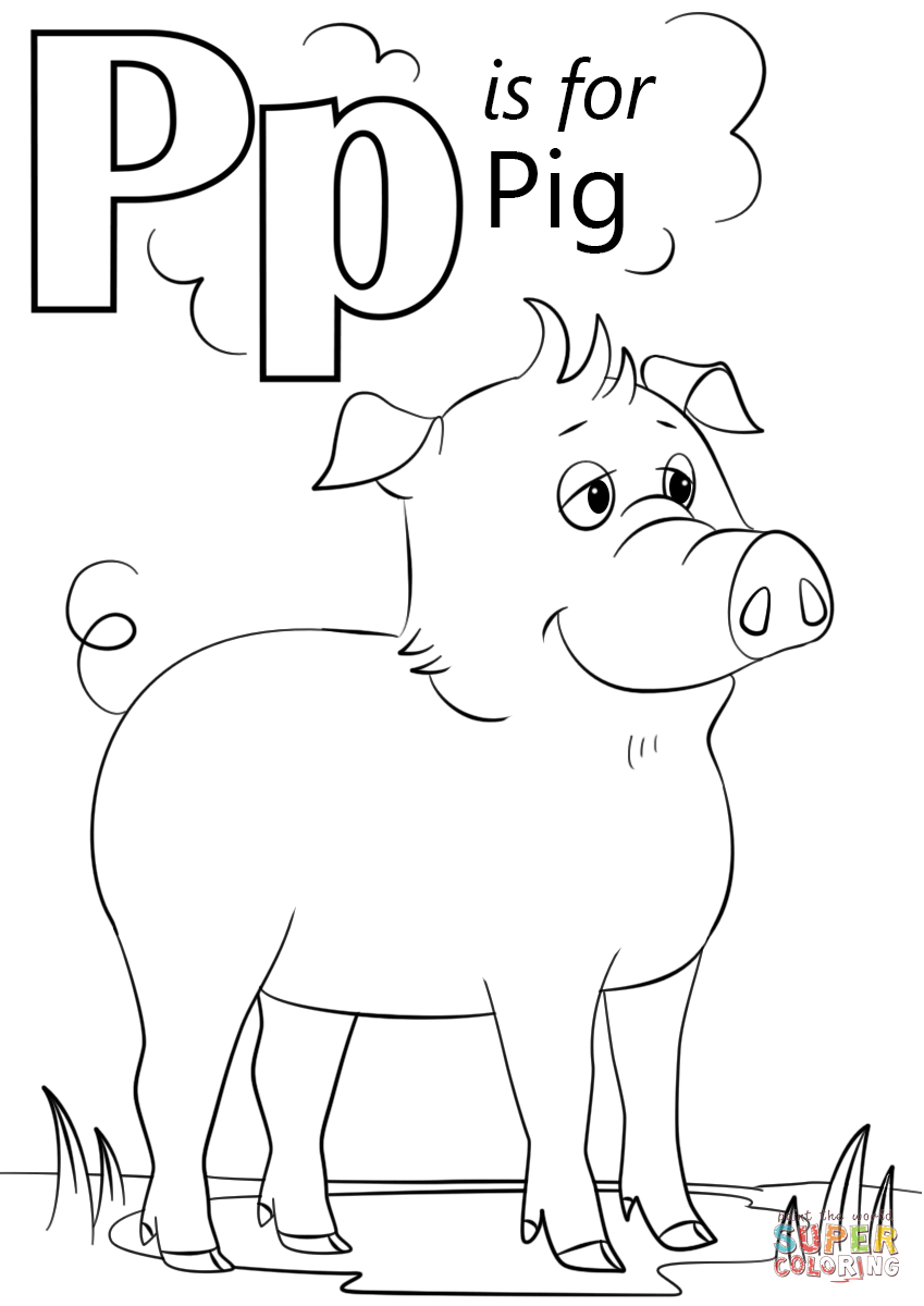 coloring letter p printable letter p is for pig coloring page free printable printable p letter coloring
