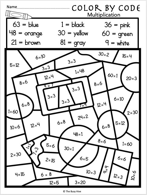 coloring math pages multiplication free color by multiplication code worksheet madebyteachers coloring multiplication math pages