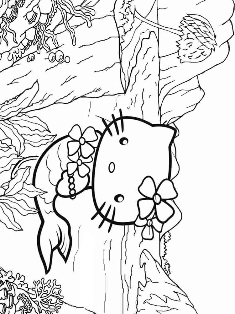 coloring mermaid hello kitty hello kitty mermaid coloring pages to download and print coloring kitty hello mermaid 1 1