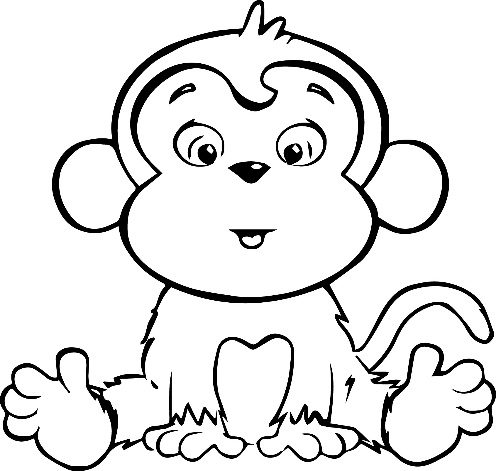 coloring monkey clipart monkey outline clipartioncom coloring monkey clipart