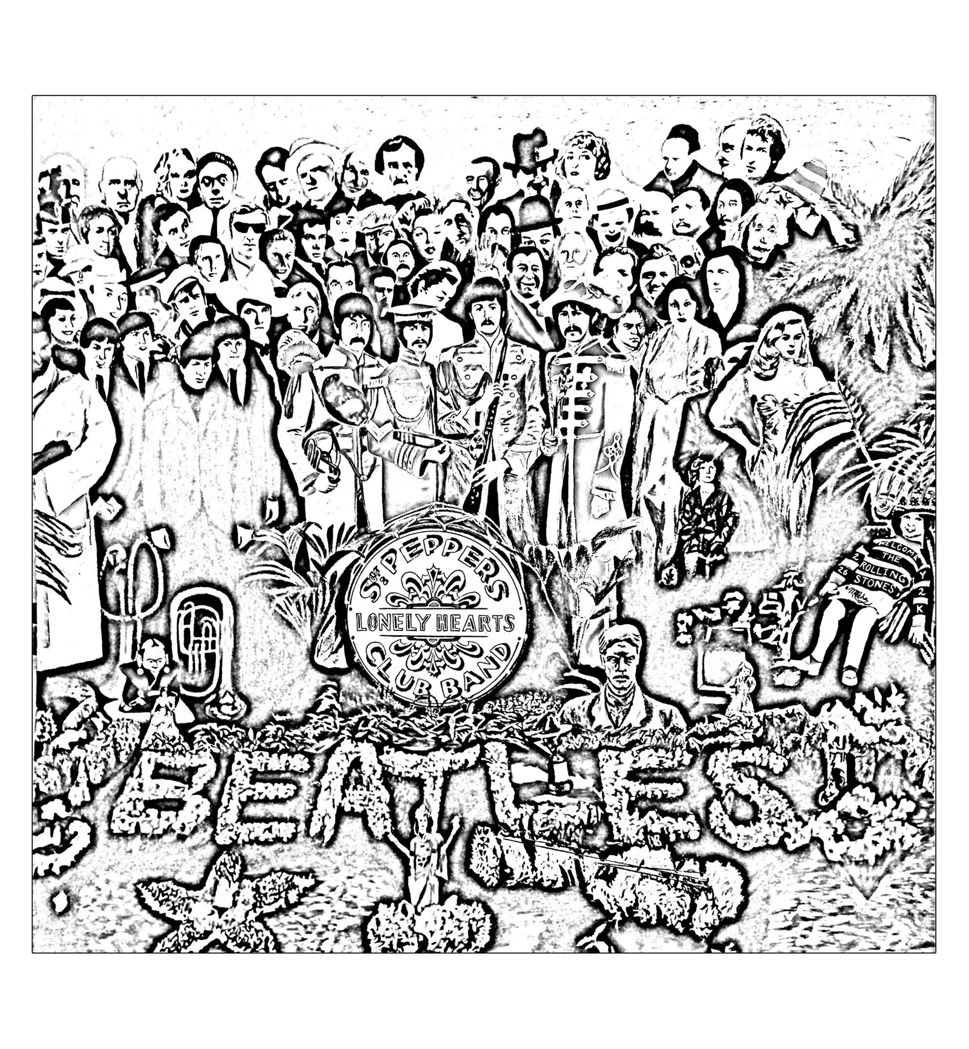 coloring music cover page the beatles sgt peppers lonely hearts club band cover coloring page music