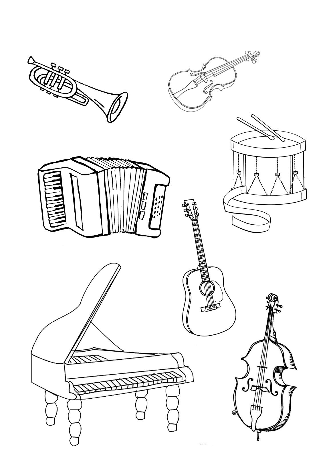 coloring musical instruments drawing 40 best string instrument coloring pages images on instruments musical coloring drawing