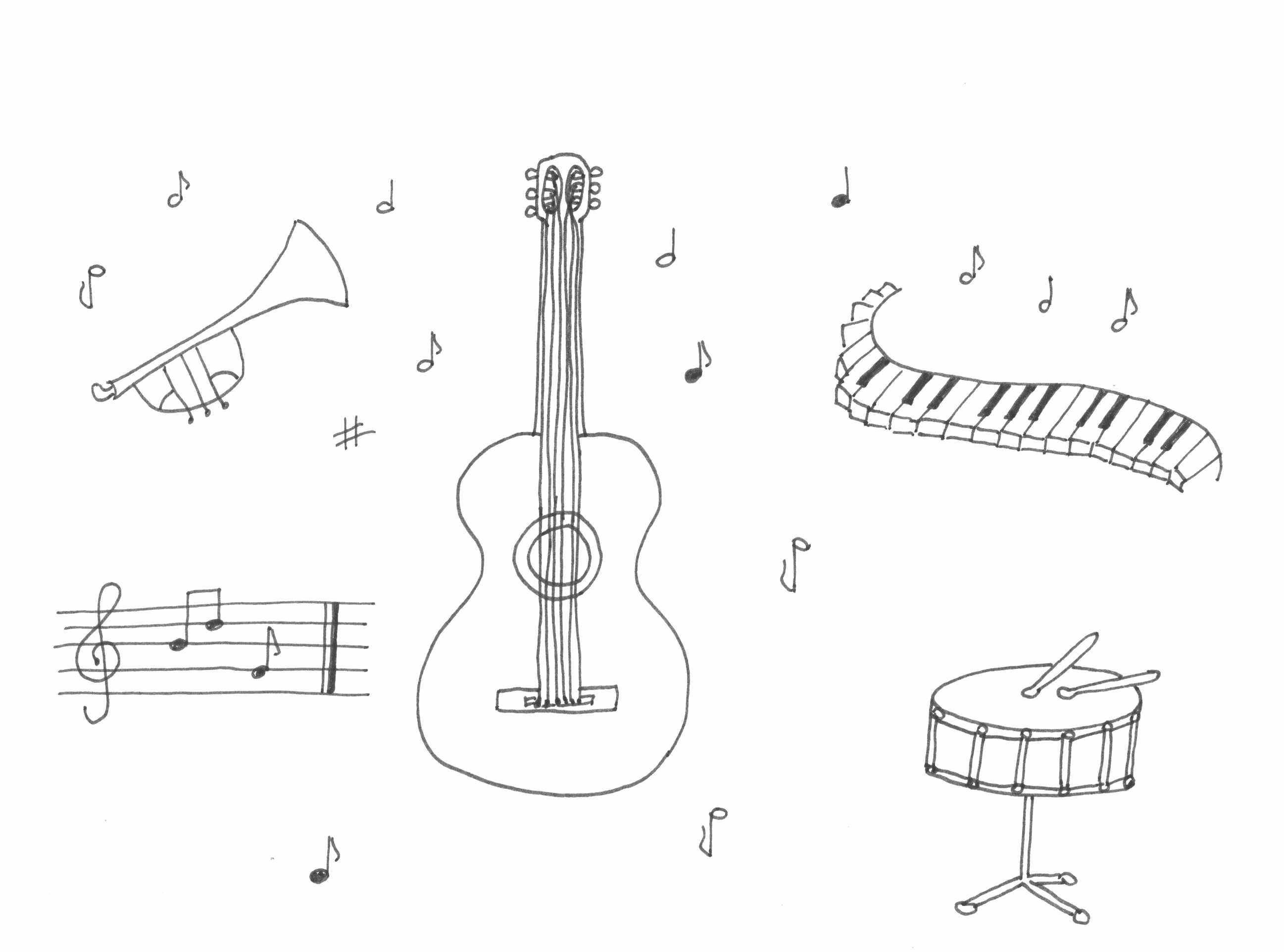 coloring musical instruments drawing music instrument coloring page getcoloringpagescom drawing musical coloring instruments