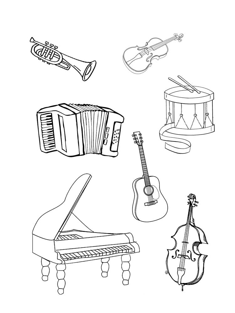 coloring musical instruments musical instruments 35 objects printable coloring pages musical coloring instruments
