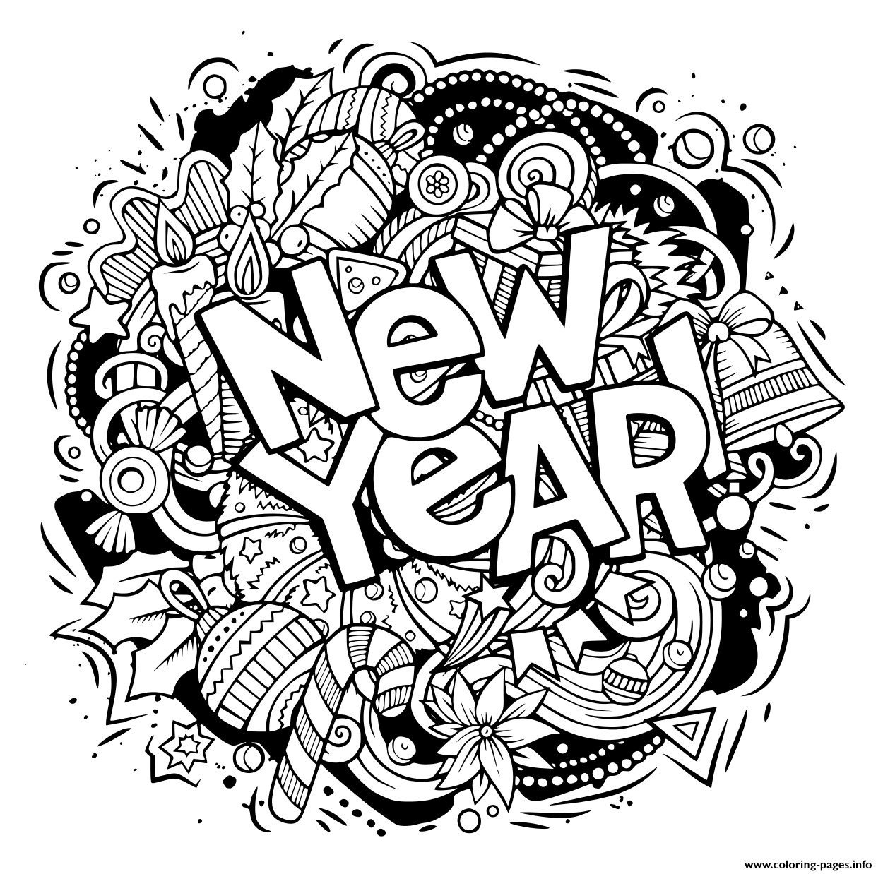 coloring new year new year doodles objects and elements coloring pages printable year new coloring