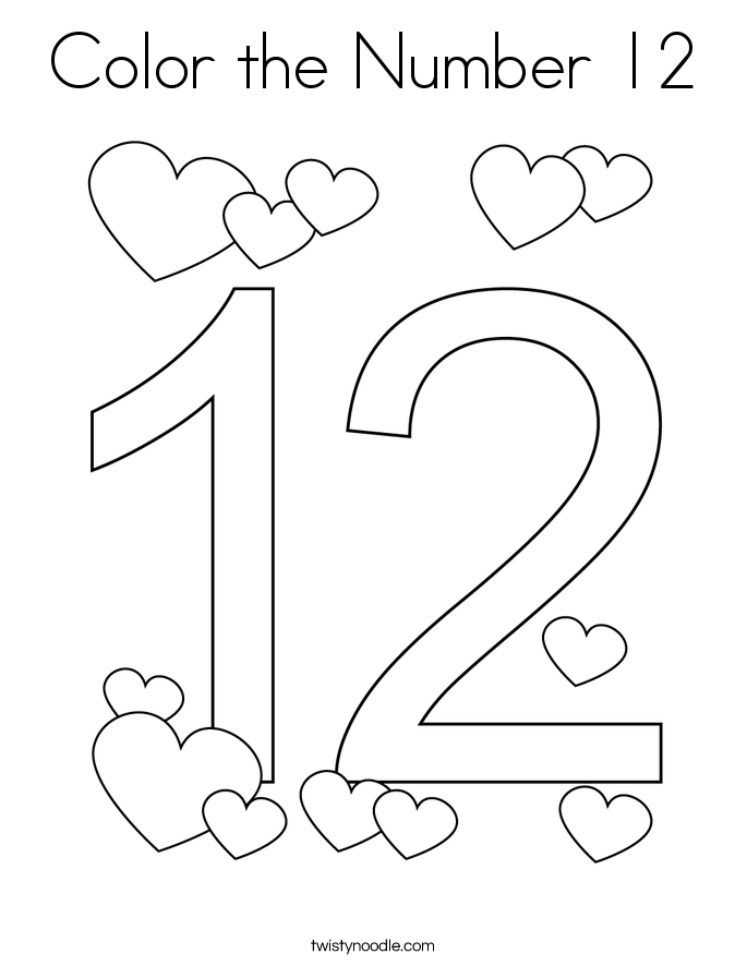 coloring number 12 color the number 12 coloring page twisty noodle number 12 coloring