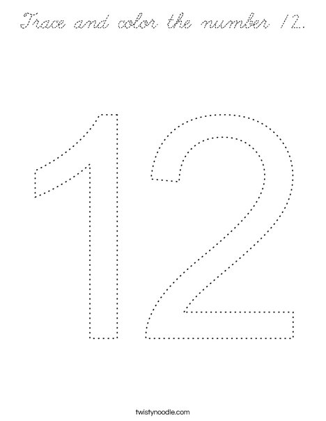 coloring number 12 number 12 images clipartsco number coloring 12