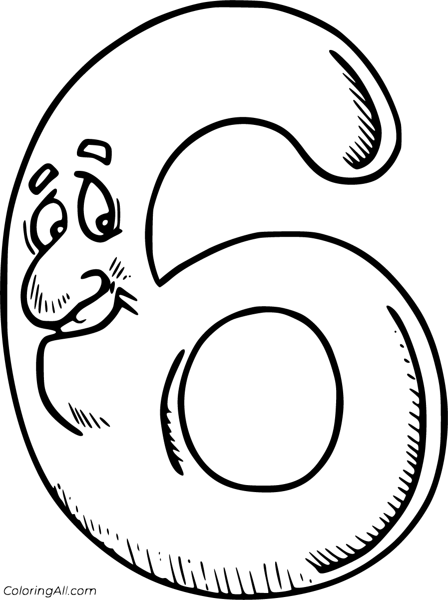 coloring number 6 number 6 coloring page free download on clipartmag number 6 coloring
