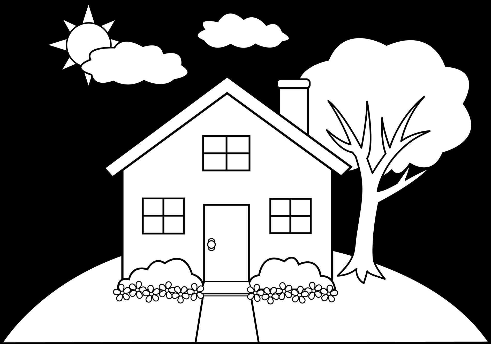 coloring outline of a house house line drawing clip art at getdrawings free download outline a of house coloring