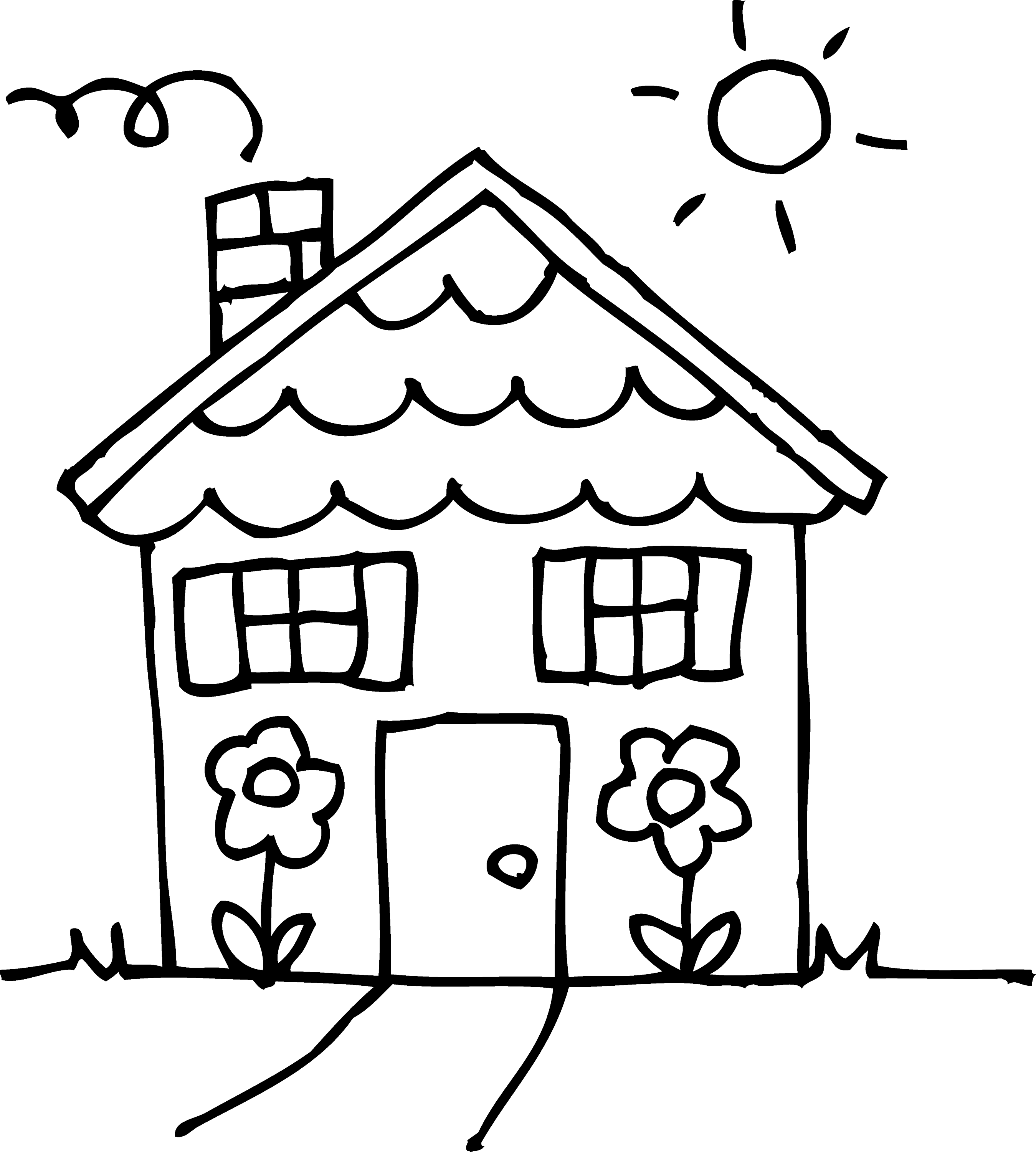 coloring outline of a house house outline drawing at getdrawings free download coloring of a house outline