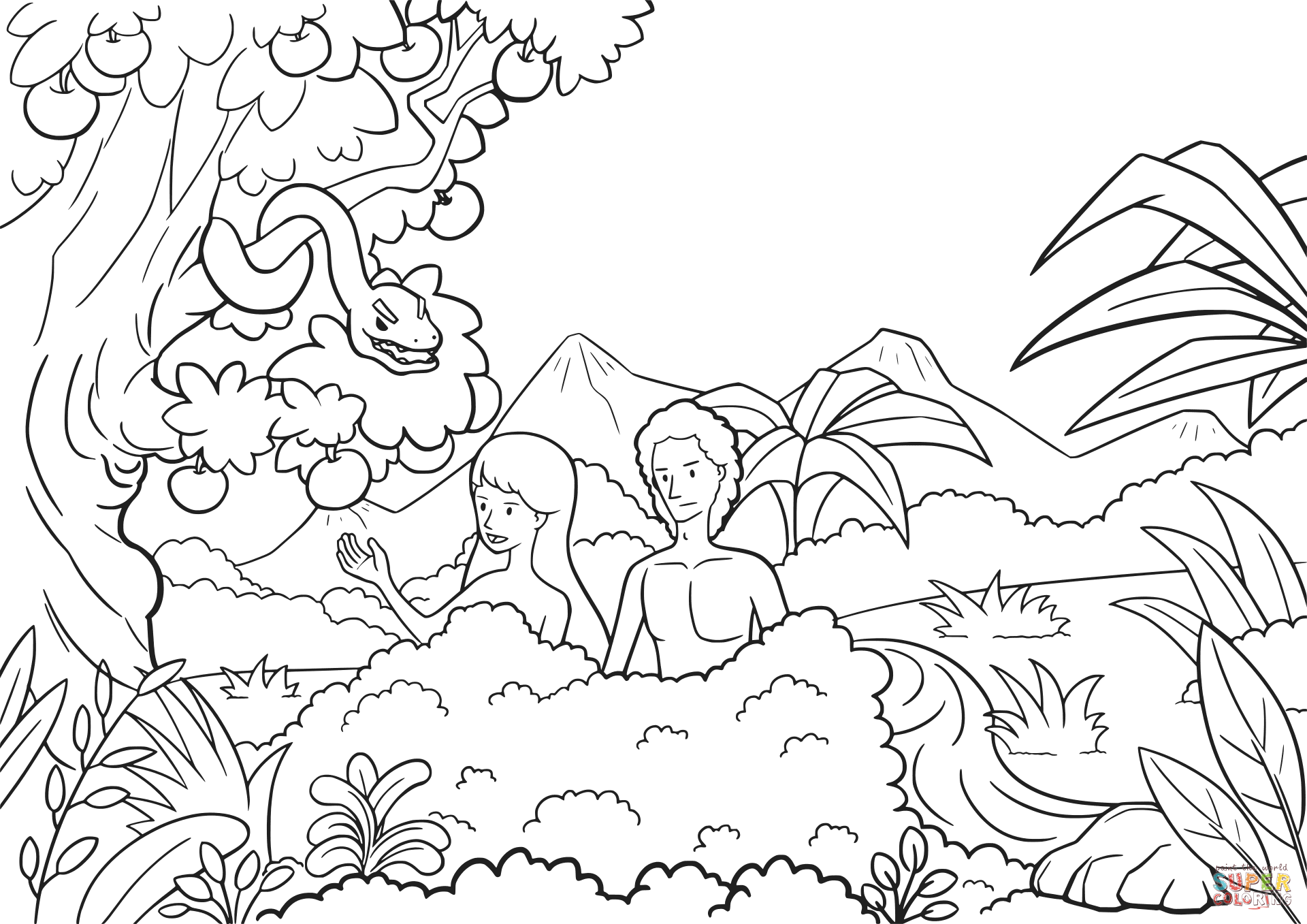 coloring page adam and eve adam and eve tempted by the serpent coloring page free adam page and eve coloring