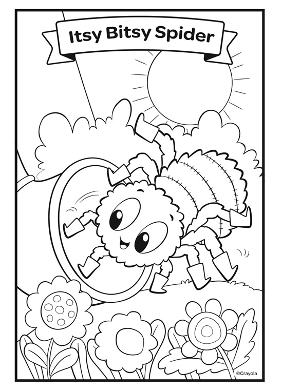 coloring page itsy bitsy spider itsy bitsy spider coloring page purple kitty itsy page spider bitsy coloring