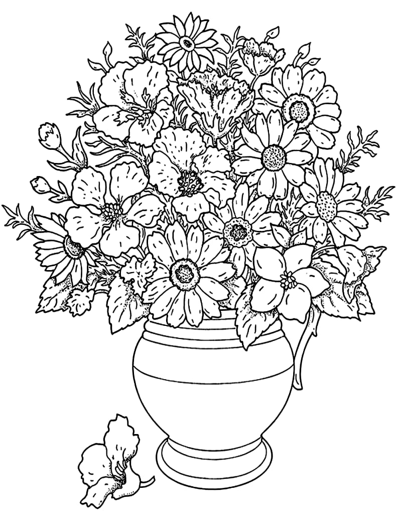 coloring page of a flower get the coloring page flower bouquet free printable coloring page flower of a
