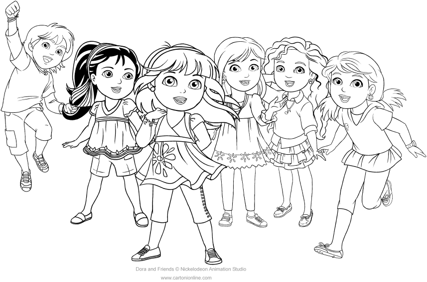 coloring pages dora and friends dora coloring pages learny kids coloring pages friends and dora
