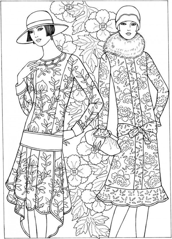 coloring pages fashion girl dancing in a vintage fashion clothing coloring page fashion pages coloring