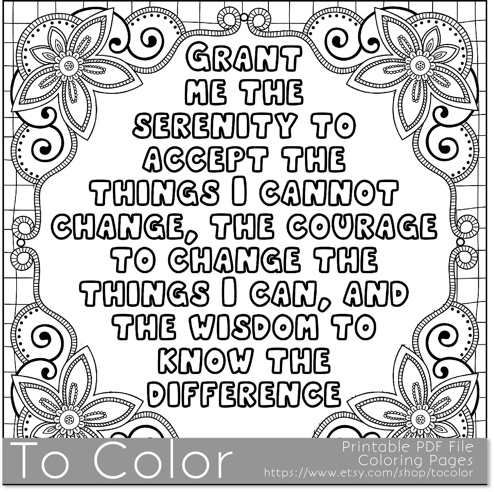 coloring pages for adults in recovery 39serenity39 coloring page for grown ups this is a pages in adults for recovery coloring
