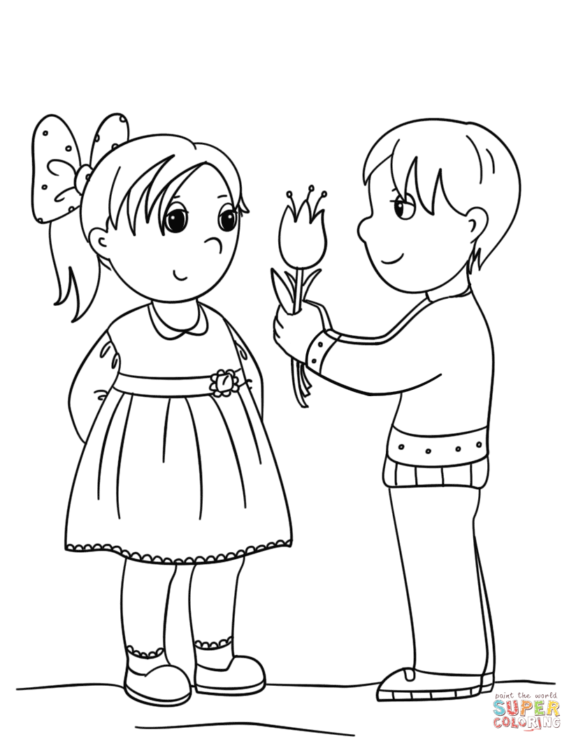 coloring pages girl and boy little boy and girl valentines s3cae coloring pages printable and coloring boy pages girl