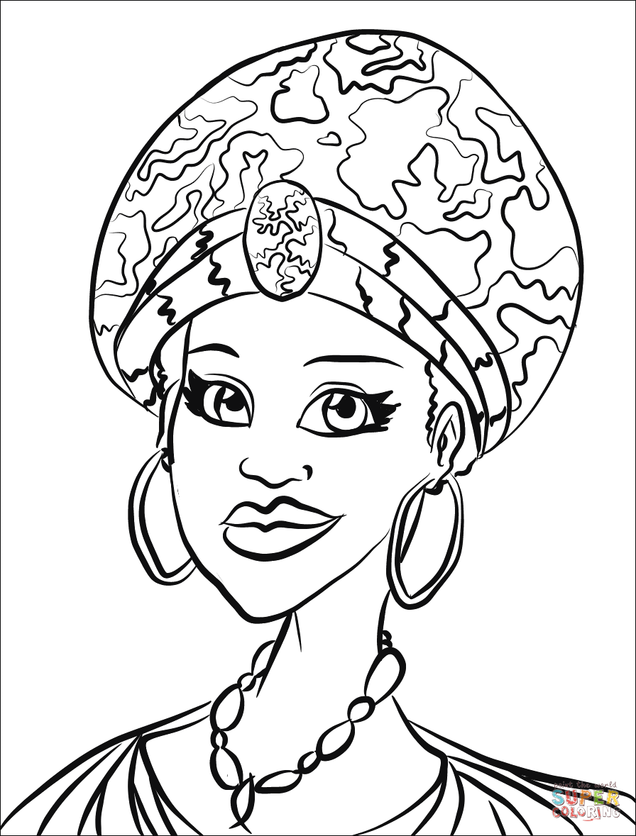 coloring pages of african women african woman drawing at getdrawings free download coloring of women african pages